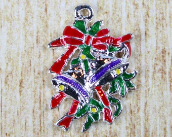 Christmas Bells Silver Plated Enamel Charm - Fancy Holiday Bells Enamel Charm - Festive Christmas Charm for Holiday Jewelry