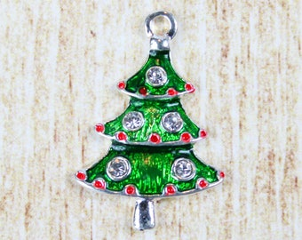 Christmas Tree Silver Plated Enamel Charm - Holiday Tree Enamel Charm - Festive Christmas Charm for Holiday Jewelry