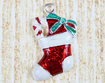Christmas Stocking Silver Plated Enamel Charm - Holiday Stocking Enamel Charm - Red and White Christmas Charm for Holiday Jewelry