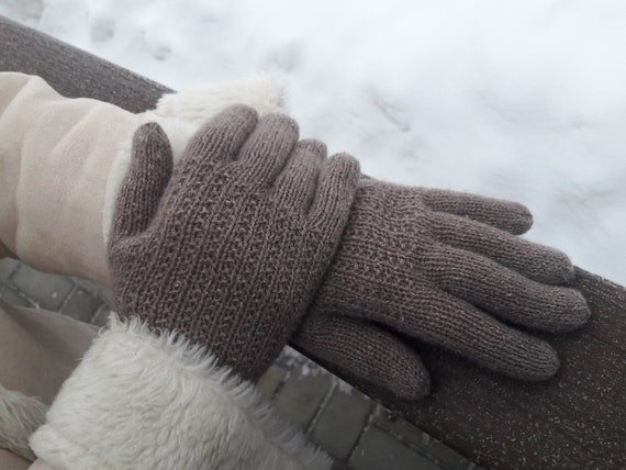Knitted women's handmade gloves made of 100% wool brown color accessory for cool spring and autumn a perfect gift for a woman