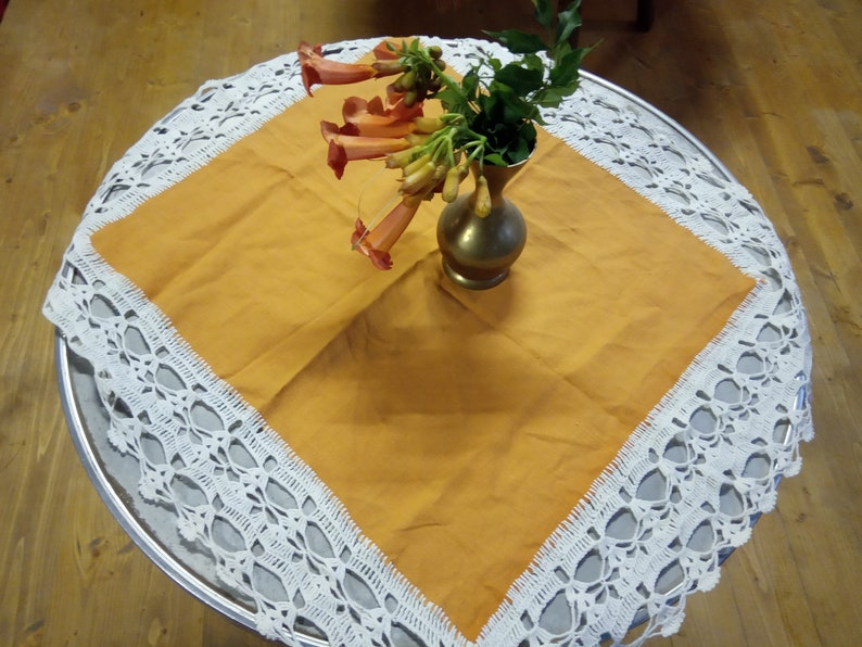 Orange Table Cover Handmade Orange Table Cover Lace Crochet Etsy