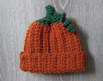Baby Pumpkin Hat / 0-3 Month Hat / Halloween Hat / Fall Baby Hat / Rustic Baby Hat / Thanksgiving Baby Hat / Halloween Costume / Photo Prop