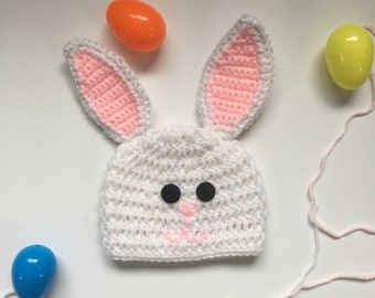 Crochet Baby Bunny Hat, 0-3 Month Bunny Hat, Easter Hat for Baby, Easter Photo Prop, 1st Easter, Baby Shower Gift, Spring Baby, Girl, Boy