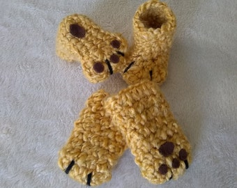 Crochet Baby Booties and Mittens, Lion Baby Set, 0-3/3-6 Months, Baby Shower Gift, Photo Prop, Animal Paws Set, Gender Neutral, Soft Bottoms