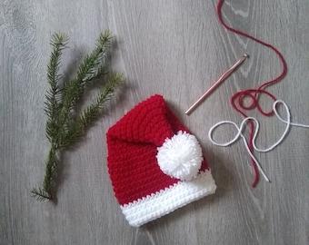 Crochet Baby Santa Hat, 0-3 Month Santa Hat, Christmas Hat for Baby, Christmas Photo Prop, 1st Christmas, Holiday Hat, Baby Shower Gift