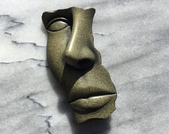 1990 Signed Hessel Face Brooch Pin 3D Modern Face Pin Abstract Mod Dimensional Stone Like Sculpture