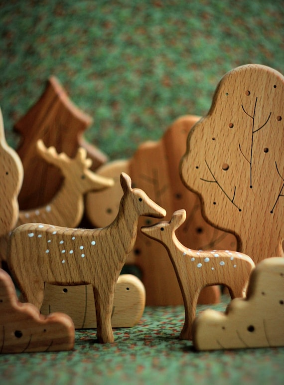 Wooden deers. Deers Family. Eco Friendly Toys. Wooden Toys | Etsy