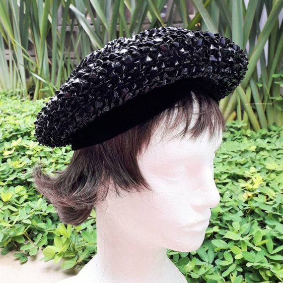 Christian Dior 1960's Authentic Beret in Black Raf