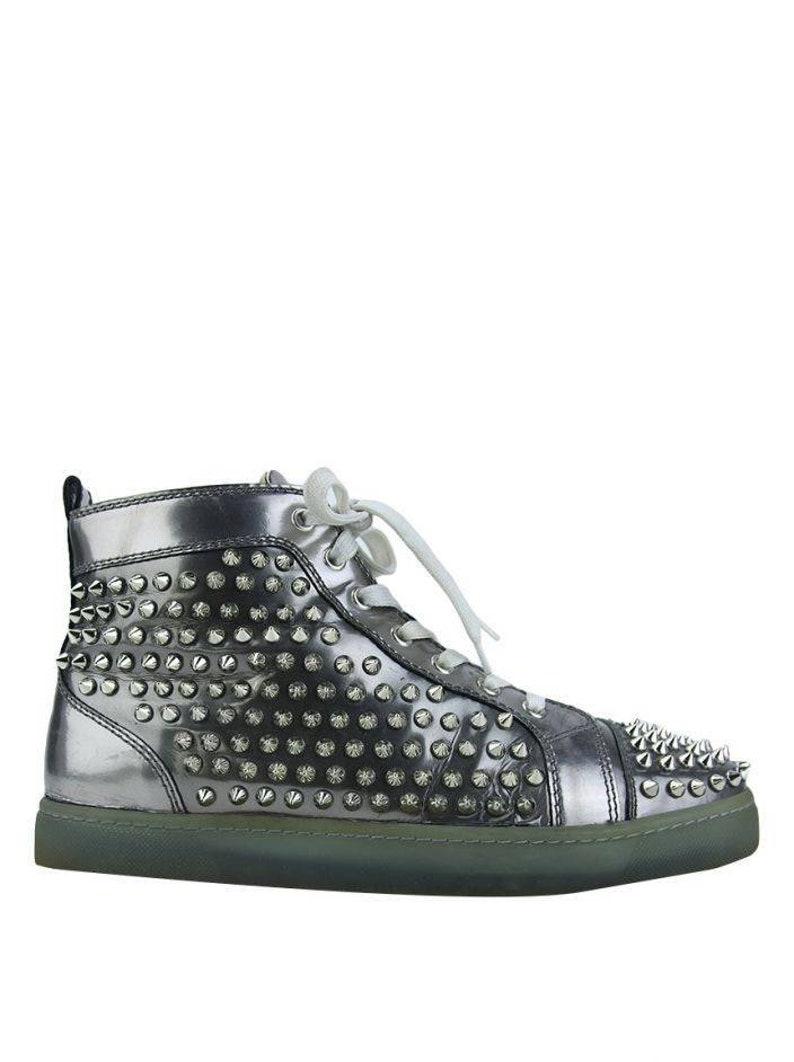 uk availability cf78c 2b30f Christian Louboutin Louis Flat Spike Sneakers Men Silver Green EUR 40 US 9