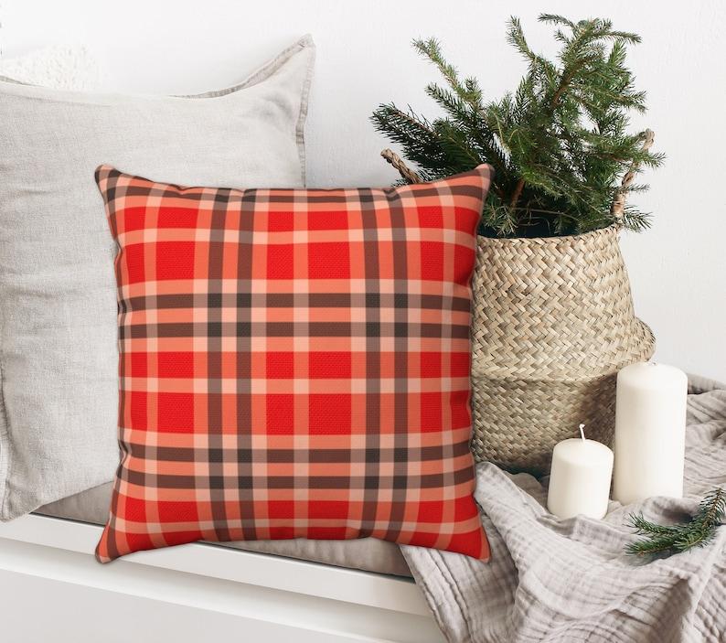RED PLAID PILLOW Cover Farmhouse Christmas Christmas Pillow Christmas Plaid Multiple Sizes Red Madras Plaid Pillow Farmhouse Pillow