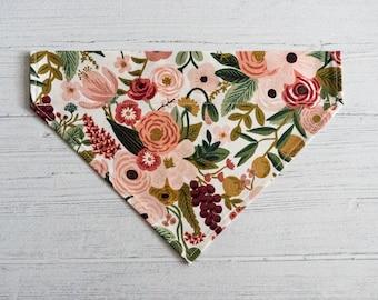 Floral Garden Party (Rose) Slip-Over Collar Dog Bandana // Dog Accessory// Dog neckwear// Rifle Paper Co Fabric // Summer Print
