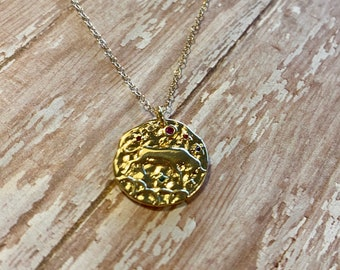 Minimal Pisces Gold and CZ Pendant Human Trafficking Donation