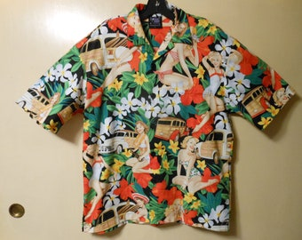 47b01381 Hawaiian style Novelty Party Shirts, Retro Pinup Girls, Cars and Flowers.  Large. Matching pocket and front.