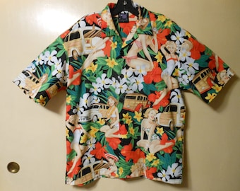 4eb8a0a2b Hawaiian style Novelty Party Shirts, Retro Pinup Girls, Cars and Flowers.  Large. Matching pocket and front.