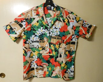 2857c298d Hawaiian style Novelty Party Shirts, Retro Pinup Girls, Cars and Flowers.  Medium. Matching pocket and front.
