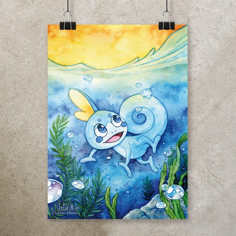 A4 Print Sobble Pokémon image 0