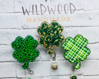 Irish Bling Badge reel Patricks Day ID Badge Reel Holder St Badge reel