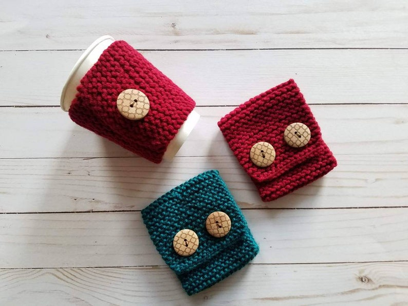 Hand Knitted Coffee Cozy with Buttons image 0