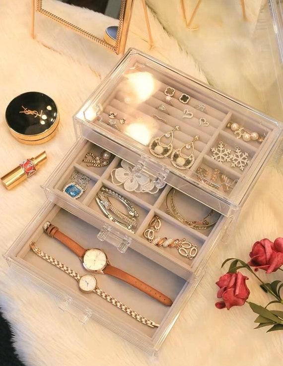 Velvet Design Acrylic Jewelry Organizer For Women Girls 3 Drawers Holder For Earring Ring Necklace Bracelet Clear Jewelry Box