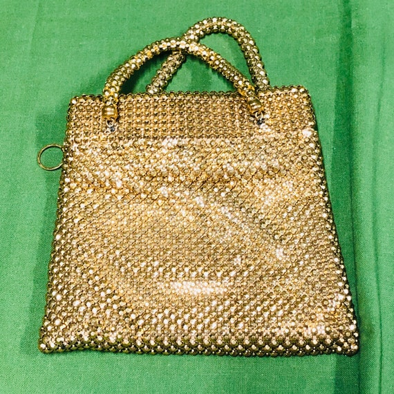 Vintage Whiting and Davis gold alumesh evening bag