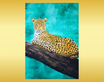 Leopard Painting Wildlife Art Original Watercolor Artwork Animal Art Home Decor Wall Decor by Arnat