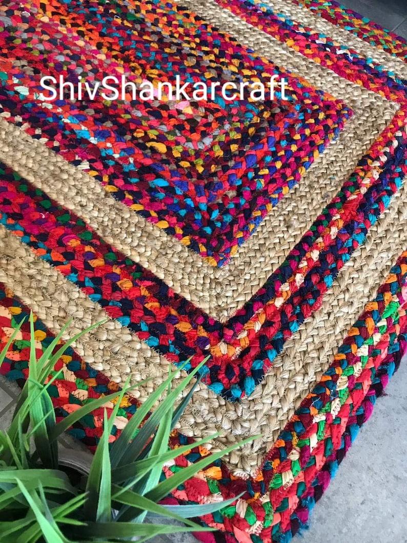 Indian Braided Floor Rug Handmade Jute Rug Natural Jute Rectangle Rug Indian Handmade Handwoven Ribbed Solid Area Rugs 3x4/' Feet Floor Rug