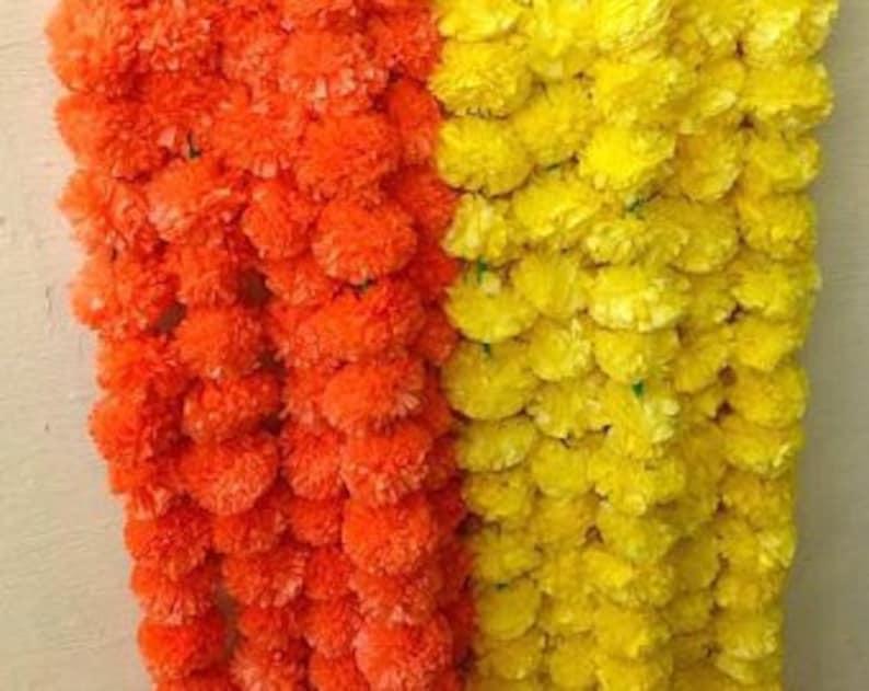 5 Fresh artificial Marigold garland string Birthday party Decor garland Flower String Photo Prop Garland Indian Wedding decor garland 5feet