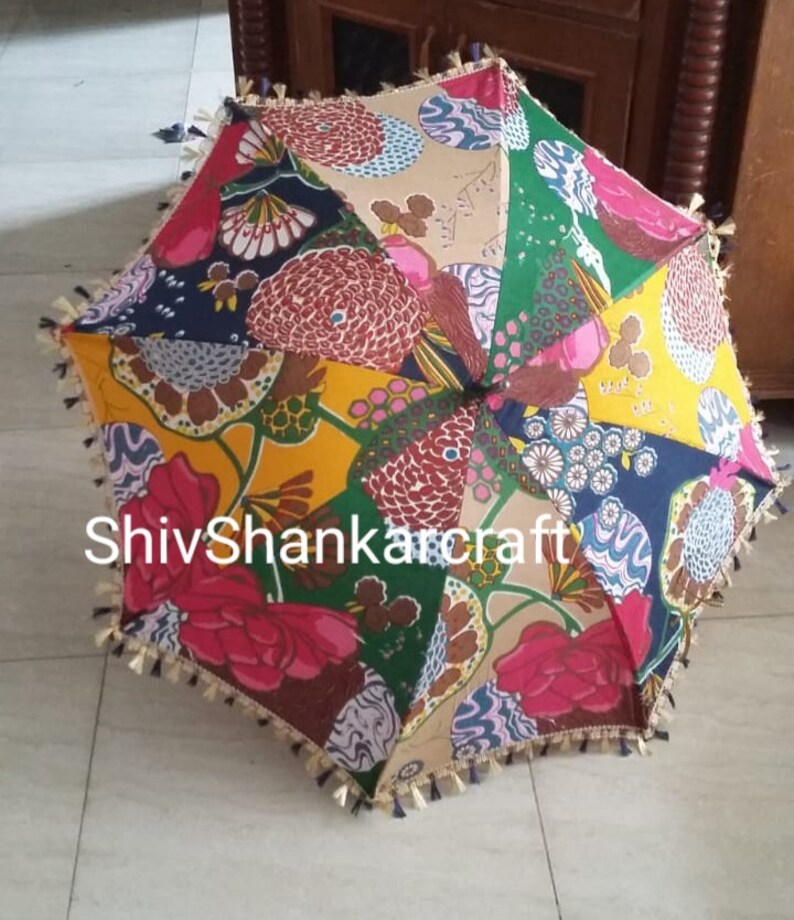 10 Pcs Henna Decor Umbrella Cotton Umbrella Fabric Parasol Vintage Ethnic Indian Umbrella Party Decor Diwali Decoration Umbrella Parasols