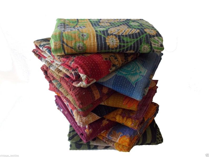 3 Pcs Home Decor Vintage Patchwork Kantha Quilt Handmade Sari Kantha Throw Indian Patch Blanket Reversible Sari Quilt Cotton Fabric Kantha