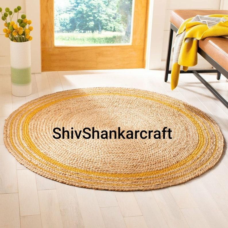 Indian Braided Floor Decor Rug Indian Handmade Area Jute Rug Yellow Jute Color Bohemian Rug Solid Area Round Shape Jute Rugs Sisal Rug