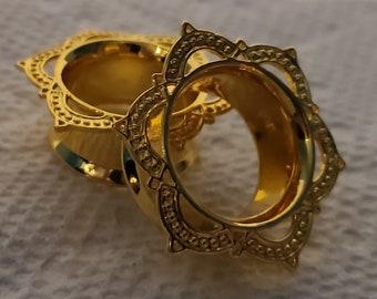 Boho Tribal Flower Earrings PHORA BELL Earrings ~ Gold Brass /& Sterling Silver Ear Weights Tunnel Earrings ~ Nautia Collection