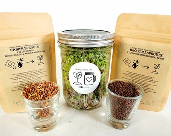 Microgreens Sprouting DIY Kit, Learn How to Grow Broccoli Sprouts & Radish Sprouts at Home