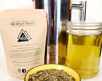 Yerba Mate, Guayusa, Yaupon, Herbal Green Tea Blend, Organic Loose Leaf Tea