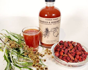 Wild Alaskan Rose Hip Syrup, Organic Herbal Blend with Alaskan Wormwood, a.k.a. Stinkweed, Local Fireweed Honey, and Rose Hips.