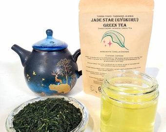 Organic Japanese Jade Star Green Tea, Loose Leaf Luxury Grade, Gyokuru Tea.