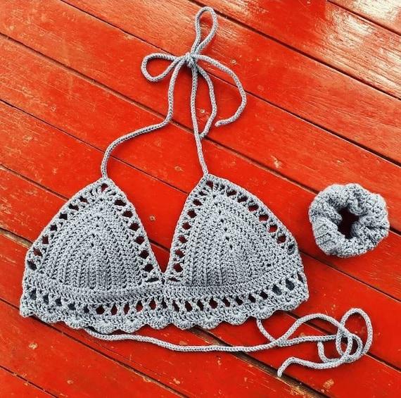 Festival Outfit Knit Bralette Blue Knitted Bikini Top Blue Bralette