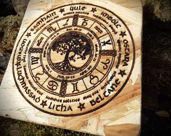Wheel of the year, Sabbath calendar, Witch Calendar, Wall Decoration, Altar Decoration, Interior Decoration, Home Decoration,