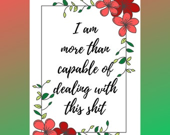 Capable motivation print, A4 digital download quote, printable wall art, motivational quotes, quotes print, wall print, positive quotes