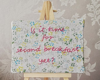 Hand embroidery second breakfast sign, funny gifts for friends men, foodie gift, food lovers gift, funny food gift, joke gifts for women