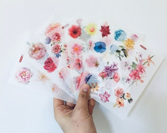 6 sheets/Pack Floral Flowers Washi Sheets Stickers, Rose Flower Stickers