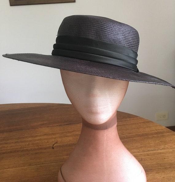 vintage hat, black vintage hat, fine straw hat,lar