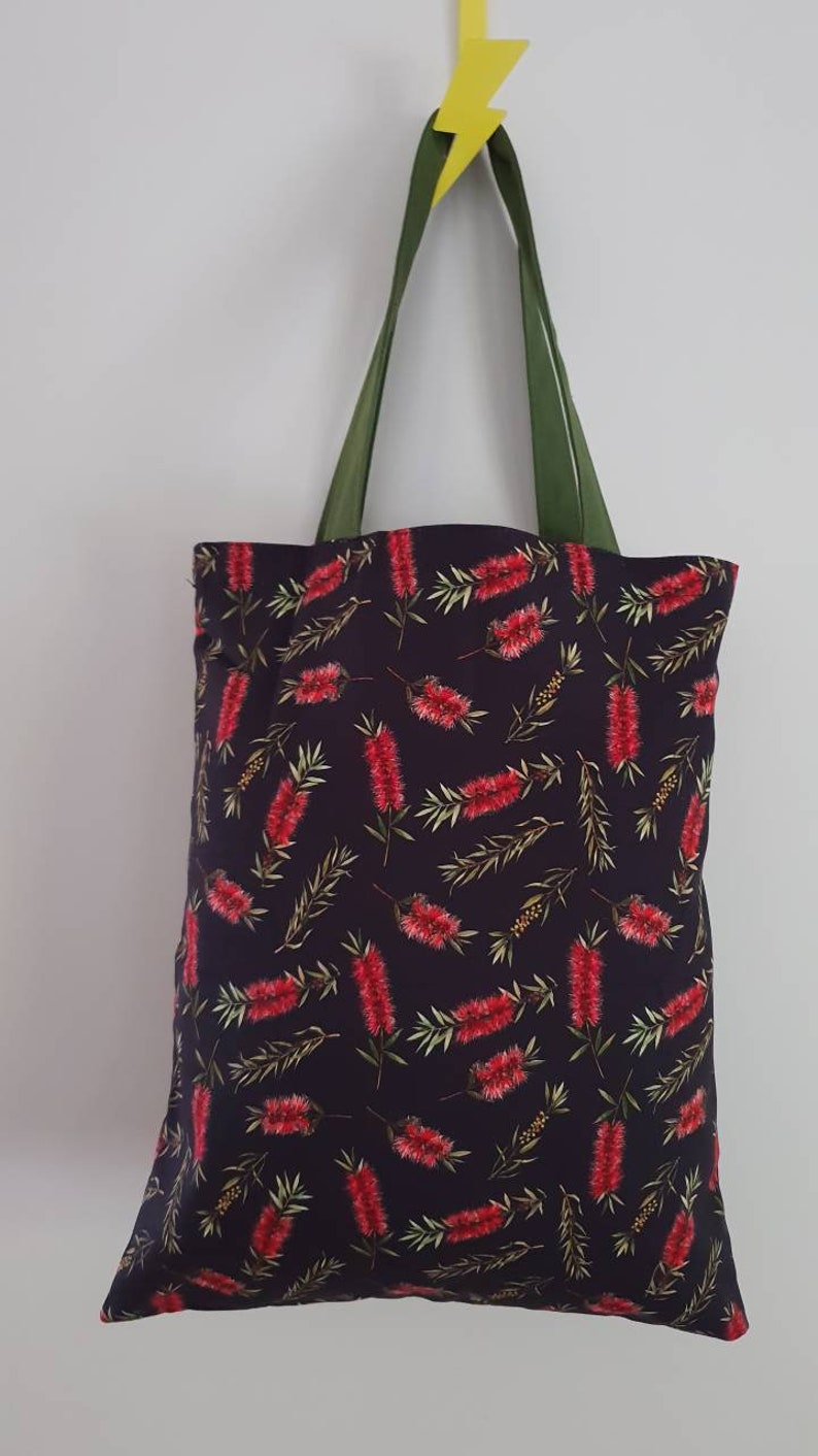 Australian native floral Linen Bags Gifts Banksia Made in AU. Handmade Eucalyptus Totes Gumnut Wildflowers