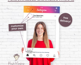 Wales Personalised Instagram Selfie Frame Photo Prop Birthday Party Events Insta