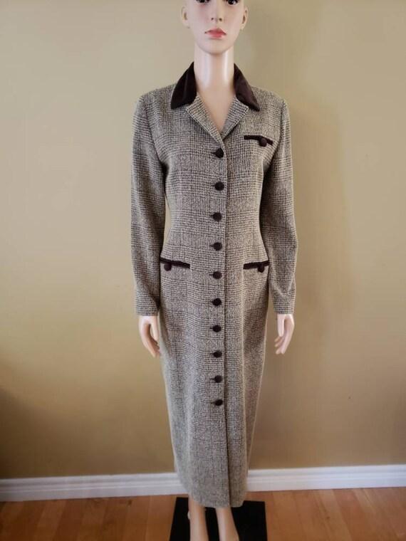 1990's Jessica Howard textured dress with velvet t