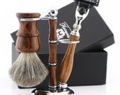Shaving Kit Wooden Home Salon Clean Shave Kit Groomsmen Gift Set Unique Anniversary Gift Cartridge Razor Barber Brush