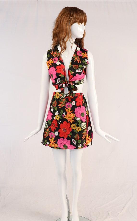 Vintage Floral Skirt and Blouse Set, 1970s Floral