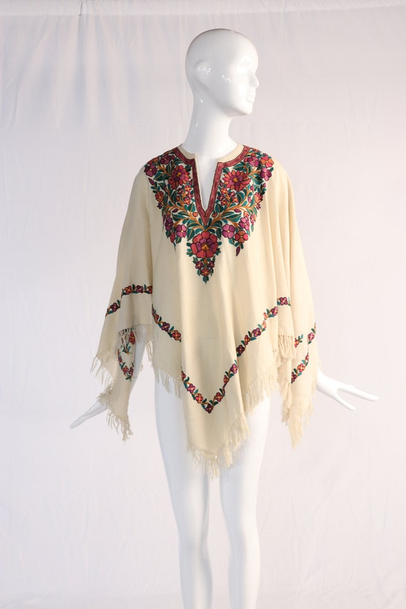 Vintage 1970s Colorful Floral Embroidered Wool Po… - image 3