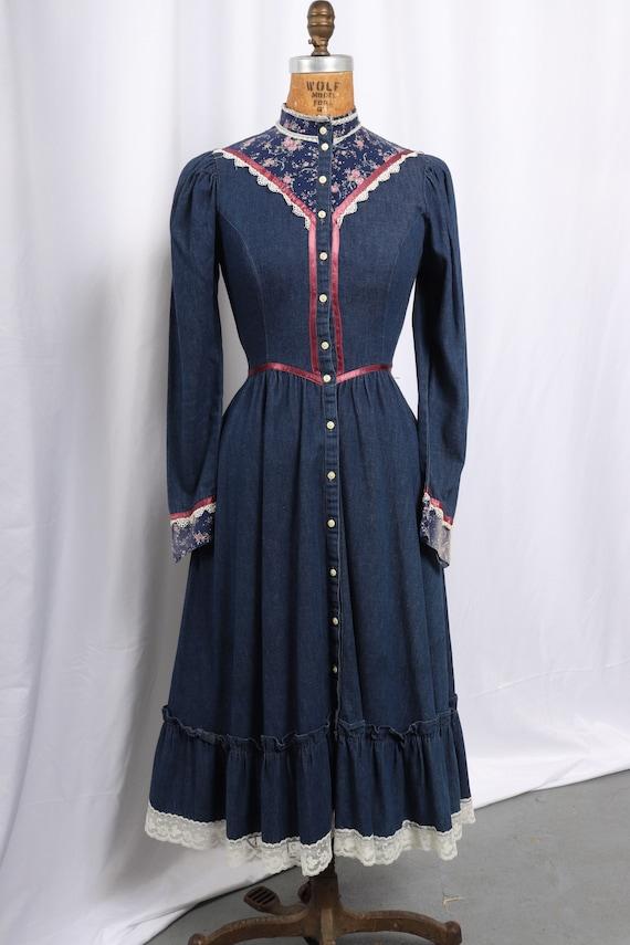 Vintage 1970s Gunne Sax Denim and Calico Dress, Ra