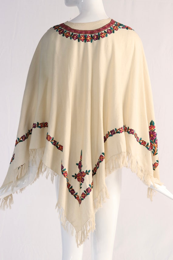 Vintage 1970s Colorful Floral Embroidered Wool Po… - image 5