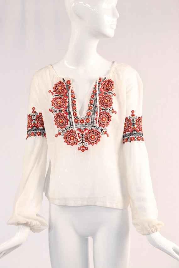 Vintage 1970s Long Sleeve White Embroidered Blouse